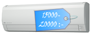 En luft-luftvärmepump kostar ca 15000-20000 kronor